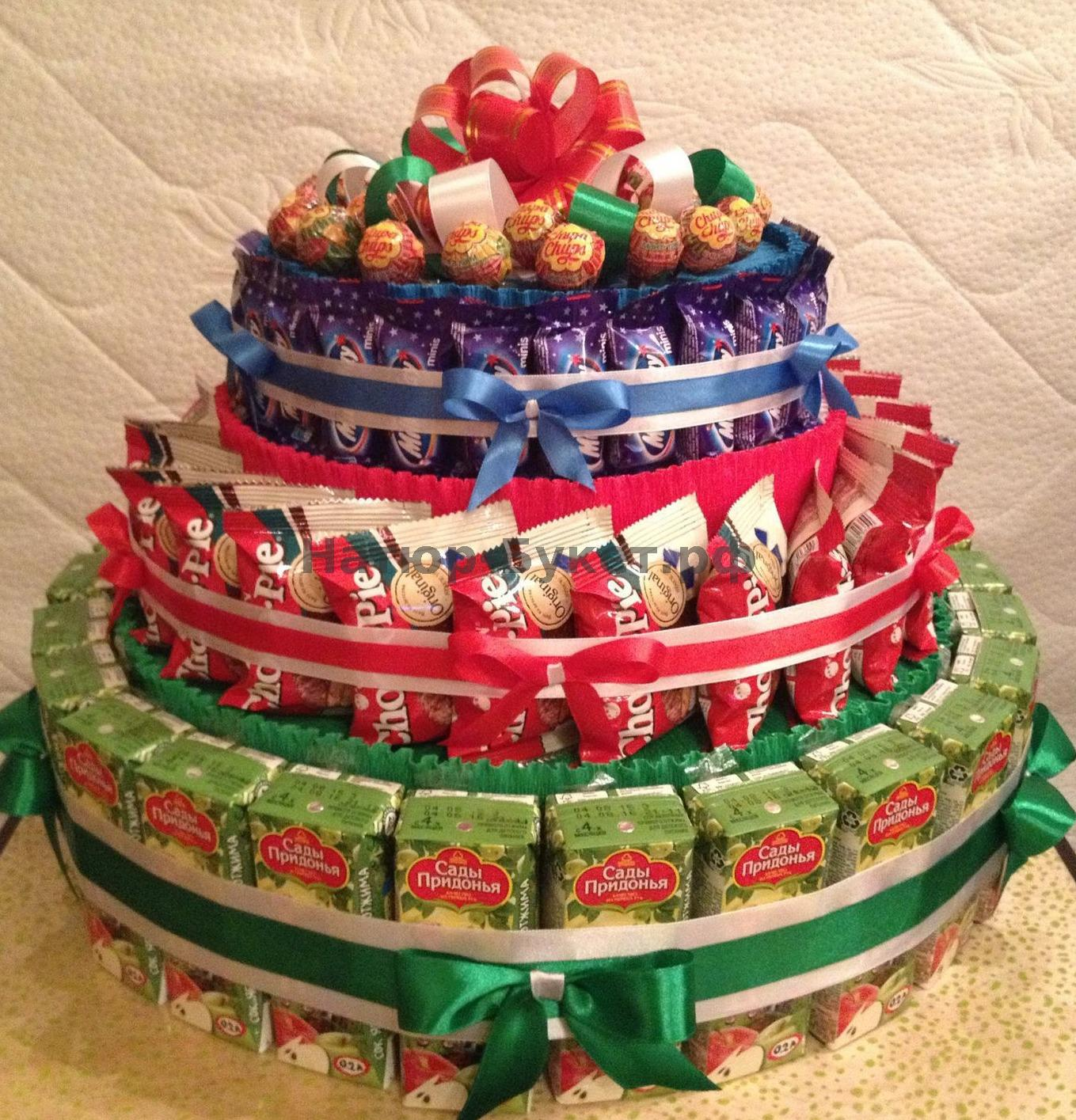 Фото торта из конфет пошагово